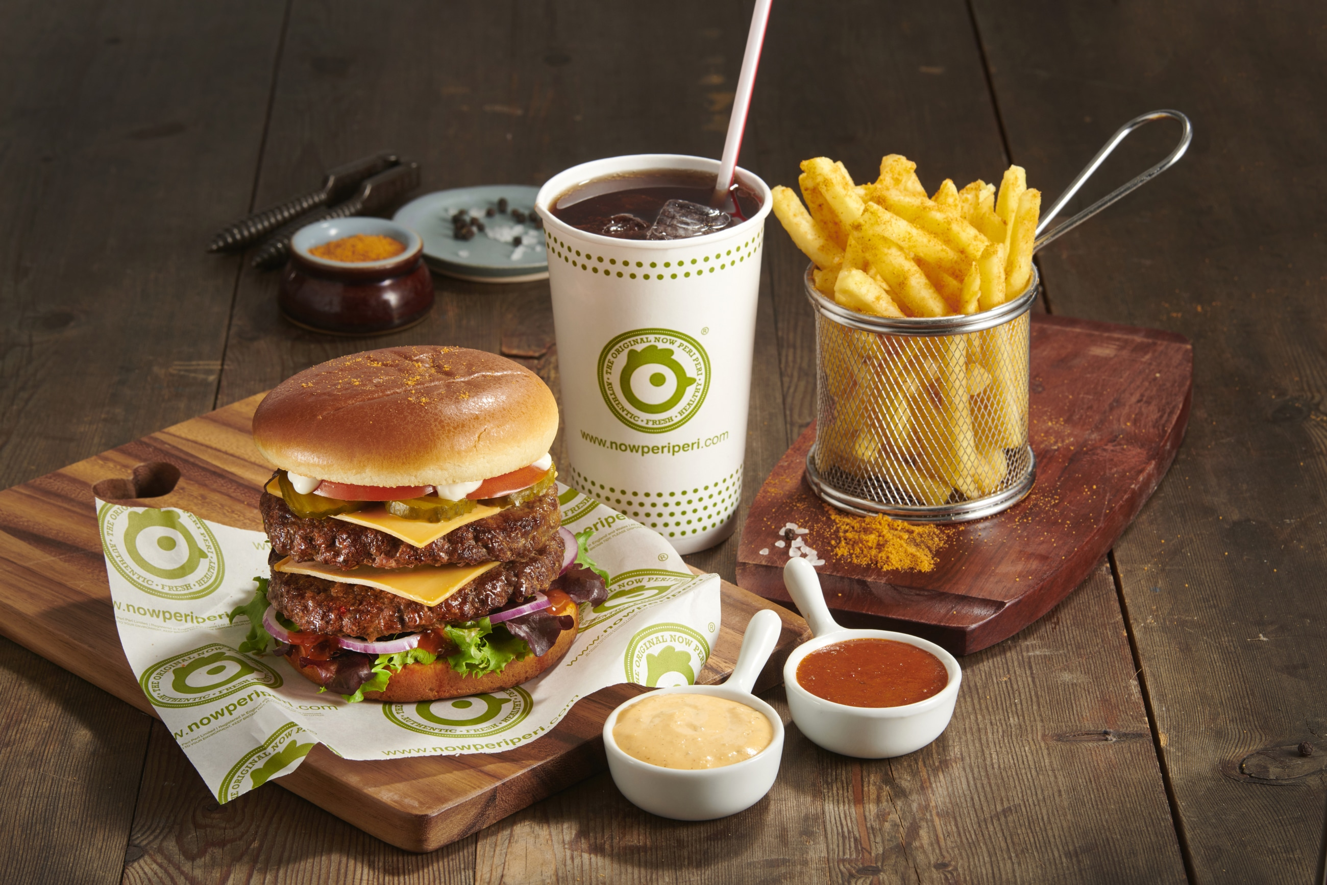 Now Peri Peri Burger Meal with Fries and Drink
